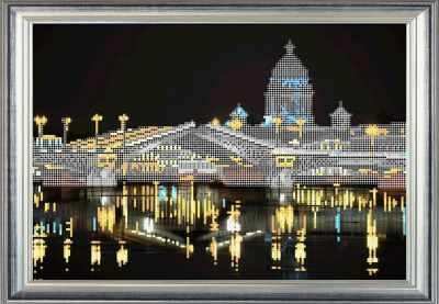 Основа для вышивания с нанесённым рисунком RK LARKES К3339 Ночной Санкт-Петербург