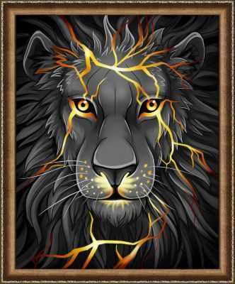 Алмазная мозаика Алмазная живопись Алмазная вышивка Лавовый лев (АЖ-1745) - картина стразами