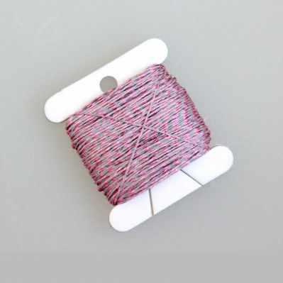 Нити для рукоделия - Нитки светящиеся в темноте, розовый меланж 30 м