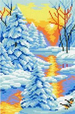 Фото - Основа для вышивания с нанесённым рисунком МП Студия СК-044 Зимний закат - схема для вышивания (М.П. Студия) основа для вышивания с нанесённым рисунком мп студия ск 061 лесная находка мп студия