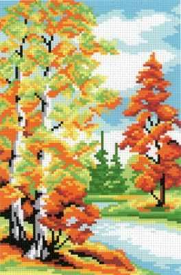 Фото - Основа для вышивания с нанесённым рисунком МП Студия СК-042 Осенний лес - схема для вышивания (М.П. Студия) основа для вышивания с нанесённым рисунком мп студия ск 061 лесная находка мп студия
