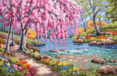 35374 DMS Цветение вишни над ручьем