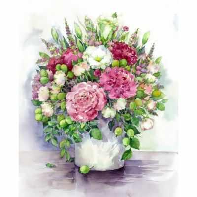 Набор для рисования по номерам Цветной mg2060 «Яркие пионы с зелеными плодами в белой вазе»