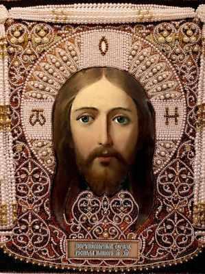 Набор для вышивания иконы Образа в каменьях 7727 Спас Нерукотворный (жемчуг акрил)