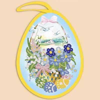 Основа для вышивания с нанесённым рисунком Марiчка ИКБ-018 Пасхальная игрушка. Корзинка - схема для вышивания (Марiчка)