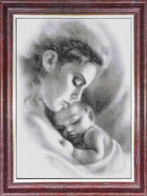 Основа для вышивания с нанесённым рисунком Каролинка кбл(э) 3047 Мать и ребенок - схема для вышивания (Каролинка)