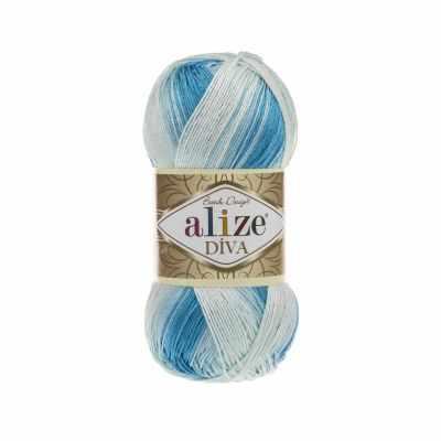 Пряжа Alize Пряжа Alize Diva Batik Цвет.2130 Бело-голубой