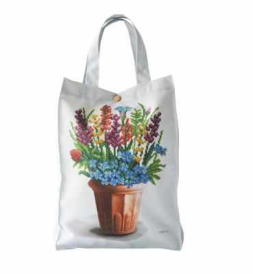 Набор для вышивания VIRENA ЕКП_107 Набор для вышивания на Эко-сумке. Бирюза. Цветы в кашпо