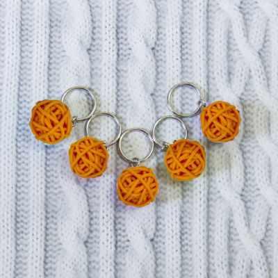 Аксессуар для вязания - Маркеры для вязания. Клубок, оранжевый