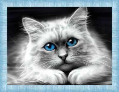 Алмазная мозаика Алмазная живопись Алмазная вышивка Голубоглазая кошка (АЖ-1761) - картина стразами