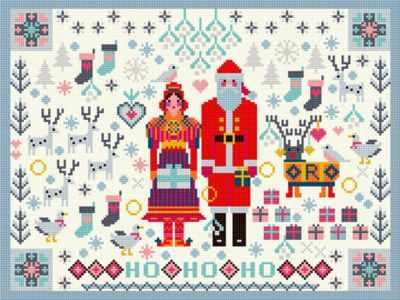 Набор для вышивания RIVERDRIFT House RR473 Santa and Mrs Claus