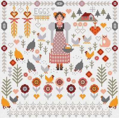 Набор для вышивания RIVERDRIFT House RR461 Country girl hens