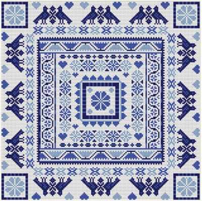 Набор для вышивания RIVERDRIFT House RR418 Hungarian square blue
