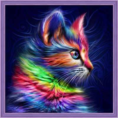 Алмазная мозаика Алмазная живопись Алмазная вышивка Разноцветный котенок (АЖ-1777) - картина стразами