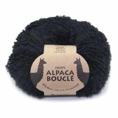 Пряжа DROPS Пряжа DROPS Alpaca Boucle Цвет.8903 Black/черный