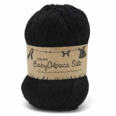 Пряжа DROPS Пряжа DROPS Baby Alpaca Silk Цвет.8903 Black/черный