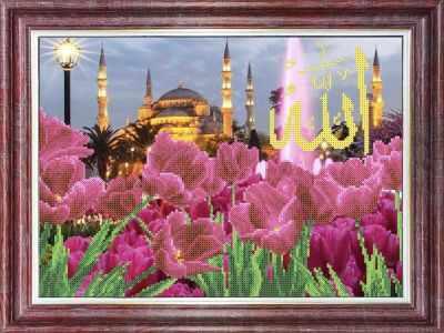 Основа для вышивания с нанесённым рисунком Каролинка КБП 3055 Тюльпаны у голубой Мечети - схема (Каролинка)