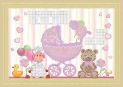 Основа для вышивания с нанесенным рисунком Матрёшкина КАЮ3074 Метрика для девочки 2