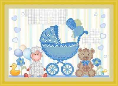 Основа для вышивания с нанесенным рисунком Матрёшкина КАЮ3075 Метрика для мальчика 2