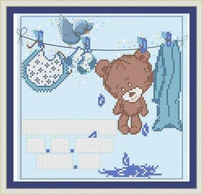 Основа для вышивания с нанесенным рисунком Матрёшкина КАЮ3079 Метрика для мальчика 4