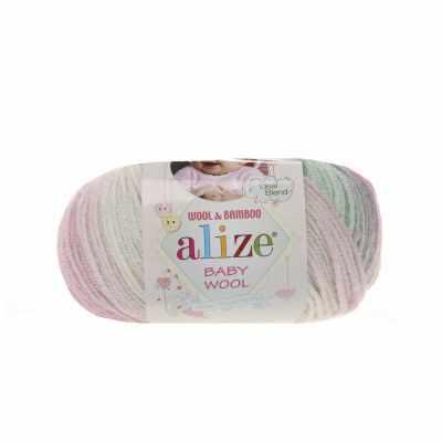 Пряжа Alize Пряжа Alize Baby Wool Batik Цвет.6541 Роз.мята.серый