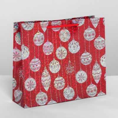 Подарочный конверт Дарите Счастье 4205708 Пакет подарочный голография горизонтальный «Ёлочные шары»