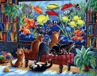 Набор для рисования по номерам Белоснежка 231-AB Коты и рыбки (Белоснежка)