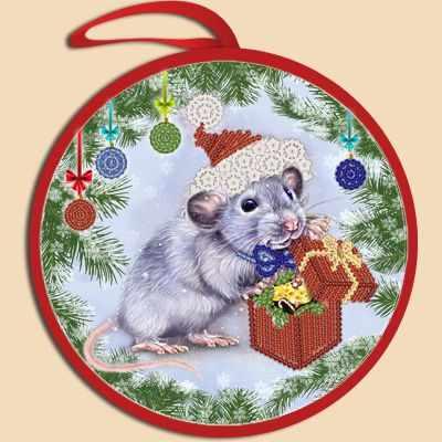 Основа для вышивания с нанесённым рисунком Марiчка ИКБ-020 Елочная игрушка. Крыска с подарком (Марiчка)