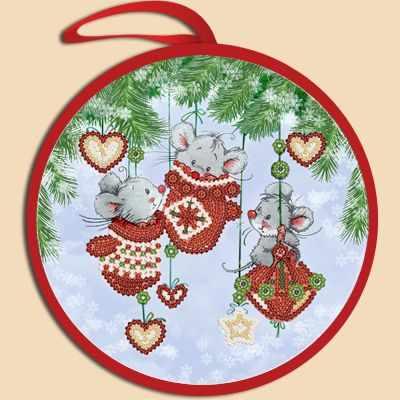 Основа для вышивания с нанесённым рисунком Марiчка ИКБ-021 Елочная игрушка. Мышки в варежках (Марiчка)
