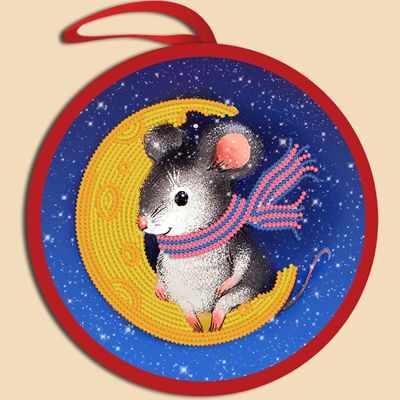 Основа для вышивания с нанесённым рисунком Марiчка ИКБ-019 Елочная игрушка. Мышка на луне (Марiчка)
