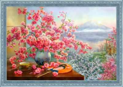 Алмазная мозаика Алмазная живопись Алмазная вышивка Букет сакуры (АЖ-1823) - картина стразами