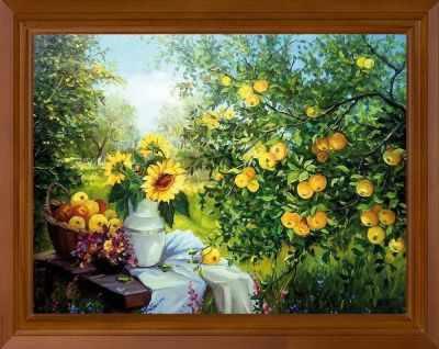 Основа для вышивания с нанесённым рисунком FeDi Р704 Яблоневый сад - принт