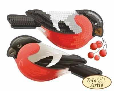 Основа для вышивания с нанесённым рисунком Tela Artis ВЛ-002 - Снегирь - схема (Tela Artis)