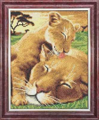 Основа для вышивания с нанесённым рисунком Каролинка КБЖ 4040 Мамы и их зверята. Заботливый львенок - схема (Каролинка)