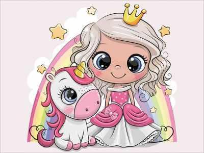 Набор для вышивания Цветной Алмазная вышивка le105 «Принцесса и единорожка