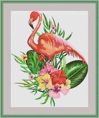 Основа для вышивания с нанесенным рисунком Матрёшкина КАЮ6014 Фламинго в цветах