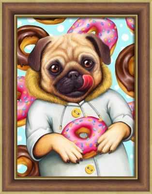 Алмазная мозаика Алмазная живопись Алмазная вышивка Мопс и пончики (АЖ-1802) - картина стразами