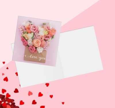 Наборы для скрапбукинга - 3775599 Открытка‒мини «С Днём Влюбленных», цветы нежные, 7 × 7 см