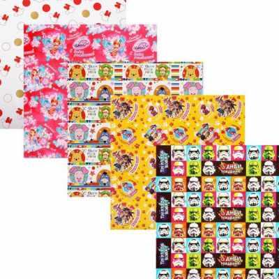 Бумага для упаковки подарков - 4258888 Бумага упаковочная глянцевая Любимые герои