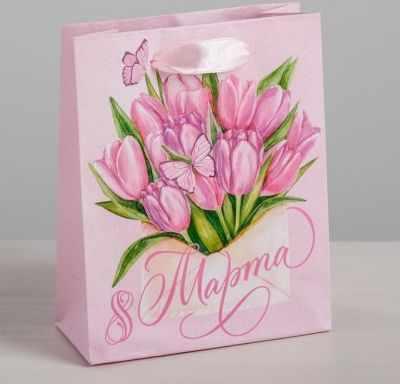 Подарочный конверт Дарите Счастье 4569580 Пакет ламинированный вертикальный «Тюльпаны 8 марта», S