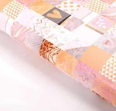 Бумага для упаковки подарков Дарите Счастье 2763407 Бумага упаковочная глянцевая «Золотые сердечки»