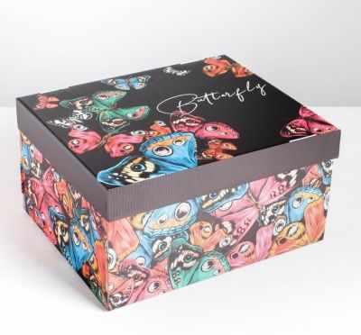 Фото - Подарочная коробка Дарите Счастье 4757490 Коробка складная Butterfly коробка трансформер подарочная дарите счастье с новым годом 13 х 9 х 5 см