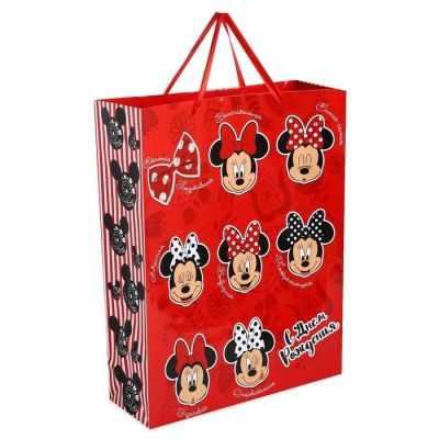 Подарочный конверт Disney 1931127 Пакет ламинированный вертикальный С Днем рождения, Минни Маус бумага упаковочная disney с днем рождения кошечка мари глянцевая 70 х 100 см 2586441