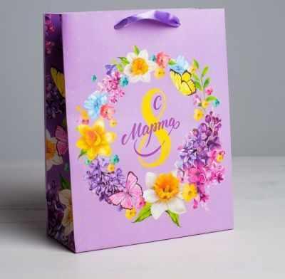 Подарочный конверт Дарите Счастье 4569568 Пакет ламинированный вертикальный «С 8 марта», MS