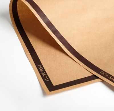 Бумага для упаковки подарков Дарите Счастье 4786445 Бумага крафт двухсторонняя «Бордовый кант»