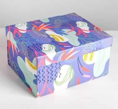 Фото - Подарочная коробка Дарите Счастье 4757486 Коробка складная Flowers, коробка трансформер подарочная дарите счастье с новым годом 13 х 9 х 5 см