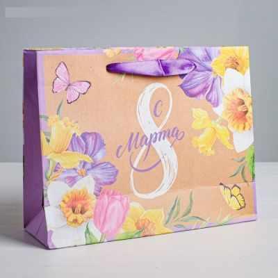 Подарочный конверт Дарите Счастье 4567797 Пакет крафтовый горизонтальный «С 8 марта», ML