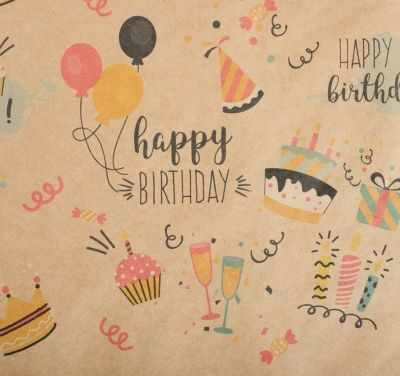 Бумага для упаковки подарков Дарите Счастье 4580654 крафтовая Happy birthday, шарики