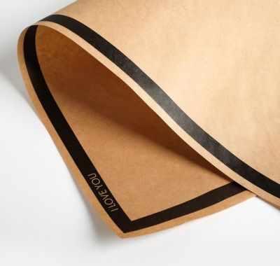Бумага для упаковки подарков Дарите Счастье 4786441 Бумага крафт двухсторонняя «Чёрный кант»
