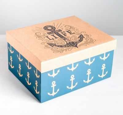 Фото - Подарочная коробка Дарите Счастье 4757488 Коробка складная «Морская» коробка трансформер подарочная дарите счастье с новым годом 13 х 9 х 5 см